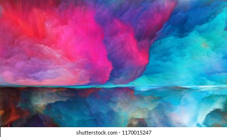 Out of This World series. Background design of surreal landscape elements and fractal colors on the subject of imagination, creativity and art