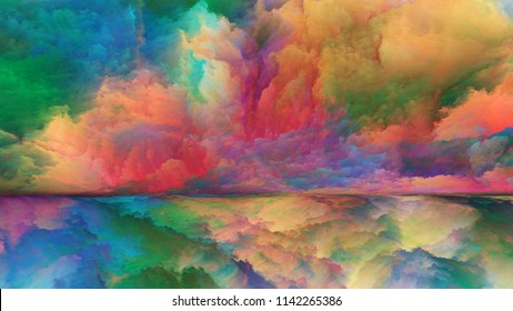 Out of This World series. Composition of surreal landscape elements and fractal colors suitable as a backdrop for the projects on imagination, creativity and art