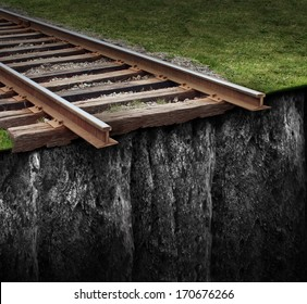 Out of track with a train railway at the edge of a steep cliff as a journey that has been cut abruptly as a closed business concept and metaphor for ending the path due to the lack of support.