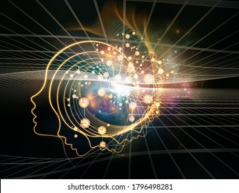 Out of Your Mind Science series. Spiral of human silhouette face line and abstract elements on the subject of consciousness, the mind, artificial intelligence and technology