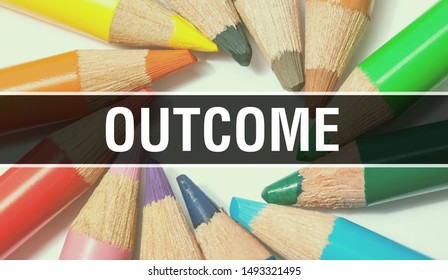 outcome concept banner with texture from colorful items of education, science objects and 1 september School supplies. outcome, result,end,consequence,conclusion,effect, end result with abstract