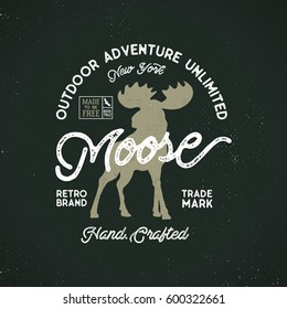 Outdoor adventure label. wilderness logo with letterpress effect. Custom explorer quote.