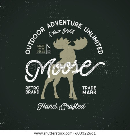 Outdoor Adventure Label Wilderness Logo Letterpress Stock