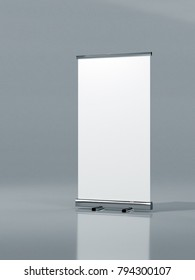 Outdoor Advertising Stand Banner (empty roll-up poster) - mockup template on gray background. 3D rendering