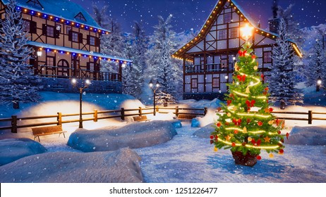 Outdoor Christmas tree decorated by Xmas lights garland on empty snowbound square of cozy alpine mountain township at snowy winter night. With no people 3D illustration from my 3D rendering file.
