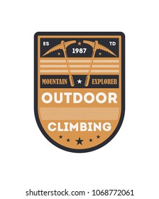 Outdoor climbing vintage isolated badge. Mountain explorer sign, touristic expedition label, nature hiking and trekking illustration