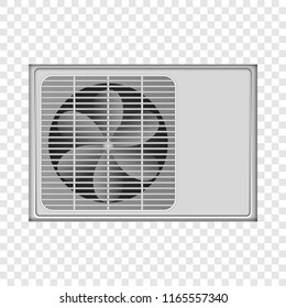 Outdoor conditioner fan mockup. Realistic illustration of outdoor conditioner fan mockup for on transparent background