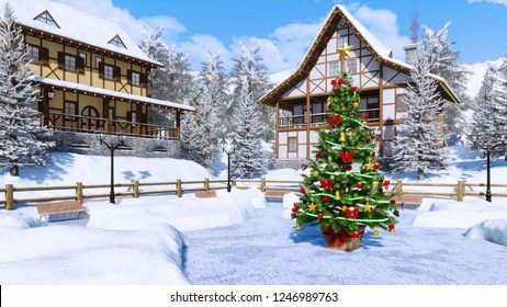Outdoor decorated Christmas tree on square of cozy snowbound alpine mountain township with half-timbered houses at frosty winter day. With no people 3D illustration from my own 3D rendering file.