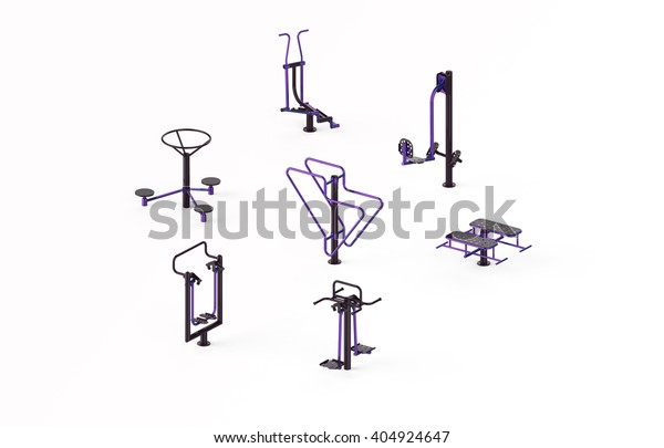 Fabulous Outdoor Gym Fitness Exercise Equipment 3D Stock Illustration Bralicious Painted Fabric Chair Ideas Braliciousco