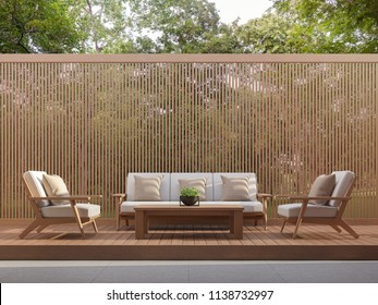 Outdoor living area with wood slats 3d render,Surrounded by the nature.There are wooden floor and wall slats partition.There have the sunlight into the floor.