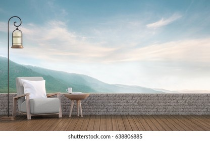 Outdoor Living With Mountain View 3d Rendering Image.Decorate With Wood  Furniture There Are Wooden