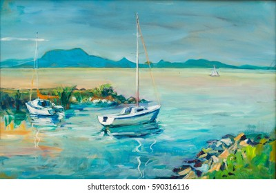 Outdoor painting of  ship and boat arriving from Badacsony in Balaton lake.