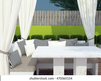Outdoor patio seating area. Table with the big sofa, black and white pillows. Outdoor furniture. 3D illustration.