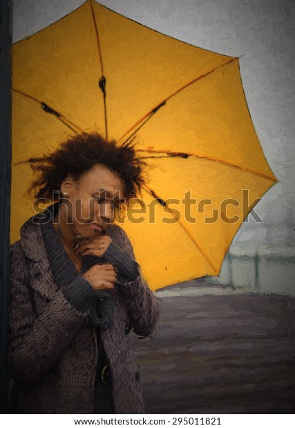 Outdoor photo of young african american woman with umbrella