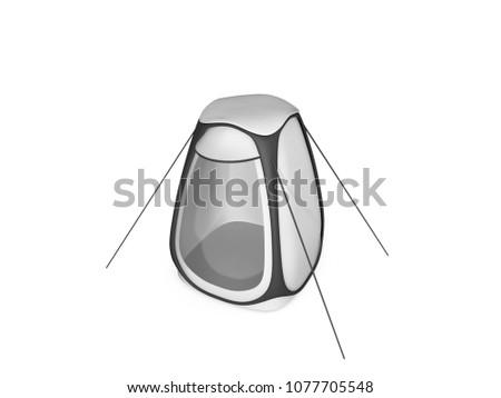 b7a1f4c2991 Outdoor rainproof single person sun-shade insulation pop up tent Keep warm  pop up portable PVC tent. 3d illustration - Illustration