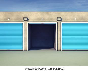 Outdoor self storage units, Storage rental facility, 3d illustration