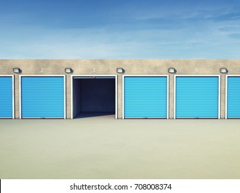 Outdoor self storage units , Storage space for rent , 3d illustration