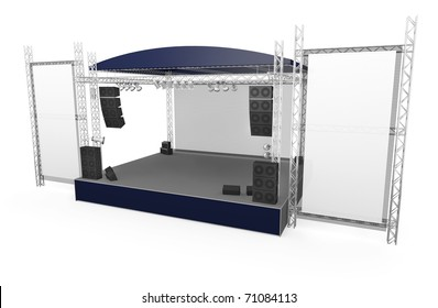 Outdoor stage with large vertical banners