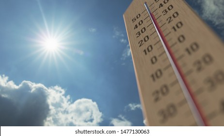 Outdoor thermometer reaches 40 forty degrees centigrade. Weather forecast related 3D rendering