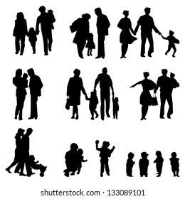 Outdoor walking Family silhouette. Mother, father with children. Isolated on white