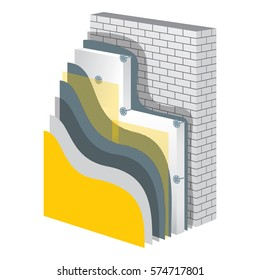 Outdoor wall insulation cross-section layered scheme. Thermal protection principle construction using polystyrene. Rasterized copy.