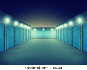 Outdoors storage units at night , Self storage facility, 3d illustration