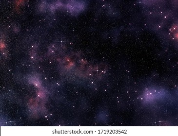 Outer space themed illustration with purple nebula clouds.