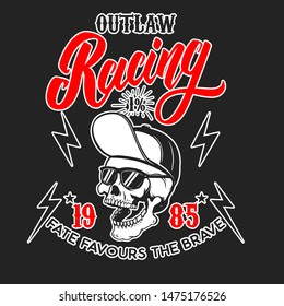Outlaw racing. Emblem template with skull in baseball cap and sunglasses. Design element for poster, logo, label, sign, badge.