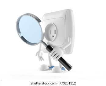 Outlet character looking through magnifying glass isolated on white background. 3d illustration
