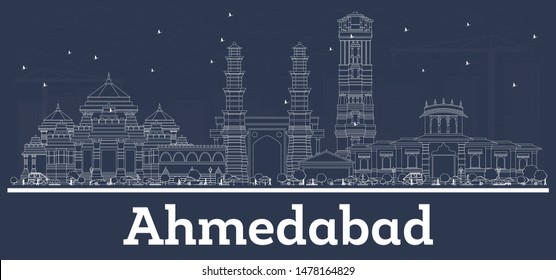 Outline Ahmedabad India City Skyline with White Buildings. Business Travel and Tourism Concept with Modern Architecture. Ahmedabad Cityscape with Landmarks.