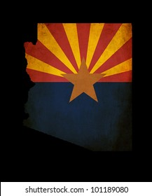 Outline of American USA Arizona state with grunge effect flag insert
