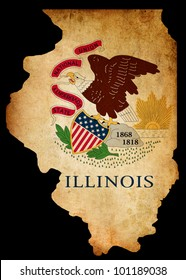 Outline of American USA Illinois state with grunge effect flag insert