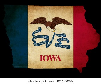 Outline of American USA Iowa state with grunge effect flag insert