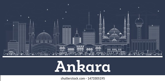 Outline Ankara Turkey City Skyline with White Buildings. Business Travel and Tourism Concept with Historic Architecture. Ankara Cityscape with Landmarks.