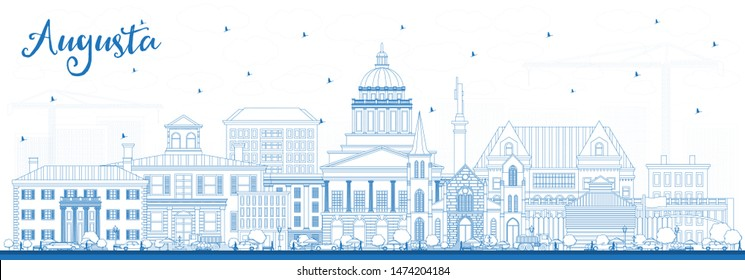 Outline Augusta Maine City Skyline with Blue Buildings. Business Travel and Tourism Concept with Historic Architecture. Augusta USA Cityscape with Landmarks.