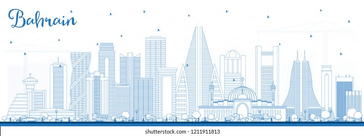 Outline Bahrain City Skyline with Blue Buildings. Business Travel and Tourism Concept with Modern Architecture. Bahrain Cityscape with Landmarks.