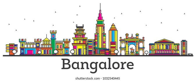 Outline Bangalore India City Skyline with Color Buildings Isolated on White. Bangalore Cityscape with Landmarks.