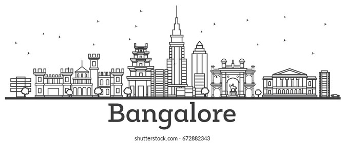 Outline Bangalore Skyline with Historic Buildings.
