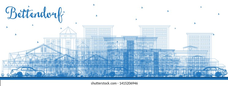 Outline Bettendorf Iowa Skyline with Blue Buildings. Business Travel and Tourism Illustration with Modern Architecture.