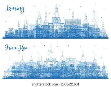 Outline Bien Hoa Vietnam and Lansing Michigan City Skyline Set with Blue Buildings. Business Travel and Concept with Historic Architecture. Cityscape with Landmarks.