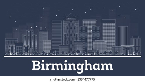 Outline Birmingham Alabama City Skyline with White Buildings. Business Travel and Concept with Modern Architecture. Birmingham Cityscape with Landmarks