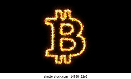 An outline of the bitcoin symbol (international digital cryptocurrency), with a burning effect (two opposing yellow lines).