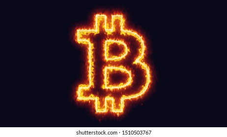 The outline of the bitcoin symbol (international digital cryptocurrency), with a burning laser effect made by two opposing yellow lines.