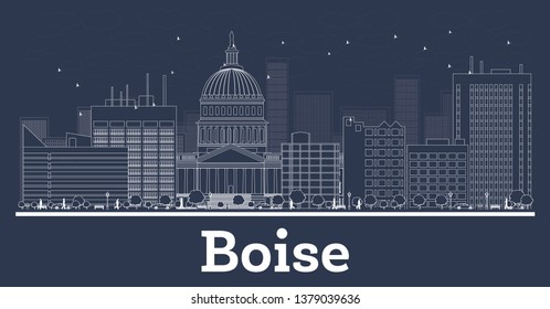 Outline Boise Idaho City Skyline with White Buildings. Business Travel and Concept with Modern Architecture. Boise Cityscape with Landmarks.