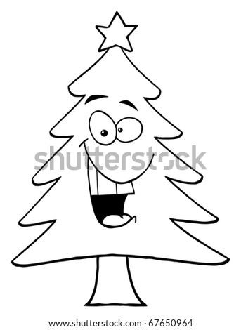 Outline Cartoon Christmas Tree Stock Illustration 67650964 ...