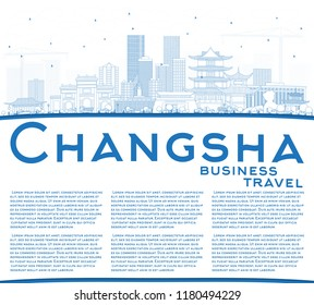 Outline Changsha China City Skyline with Blue Buildings and Copy Space. Business Travel and Tourism Concept with Modern Architecture. Changsha Cityscape with Landmarks.