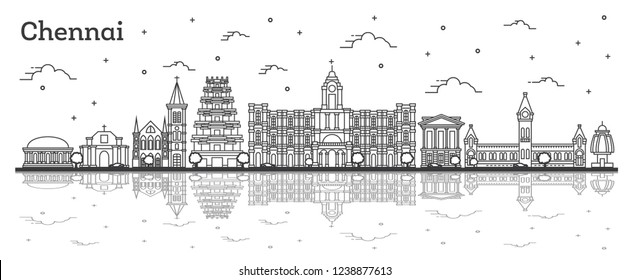 Outline Chennai India City Skyline with Historic Buildings and Reflections Isolated on White. Chennai Cityscape with Landmarks.