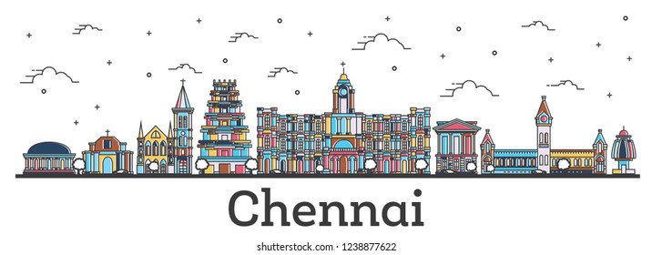 Outline Chennai India City Skyline with Color Buildings Isolated on White. Chennai Cityscape with Landmarks.