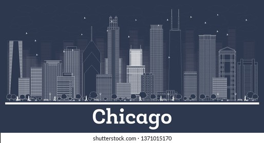Outline Chicago Illinois City Skyline with White Buildings. Business Travel and Tourism Concept with Historic Architecture. Chicago Cityscape with Landmarks.