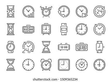 Outline clock icons. Line time, 24 hours clocks and hourglass. Deadline metaphors, alarm or timer timings line or watch clocking instrument. Isolated icon  set